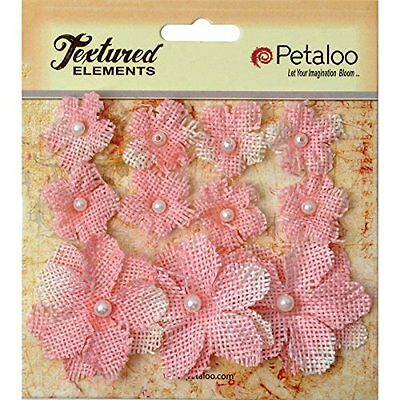 Petaloo - Textured Elements Burlap Mini Flowers x 11 - Pink