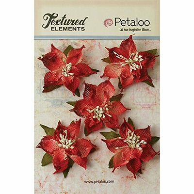 Petaloo Textured Elements Burlap Poinsettias, 2.5-Inch, Red,