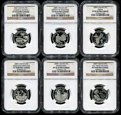 2009 S Silver Proof Quarters NGC PF70 Ultra Cameo Set DC & US Territories