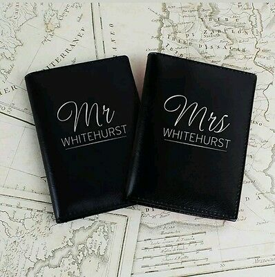 Personalised Mr & Mrs Black Leather Passport Holders Covers Wedding Anniversary