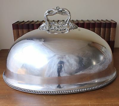 Fabulous X Large Victorian Silver Plate Meat Food Cover. Big Xmas Turkey Dome.