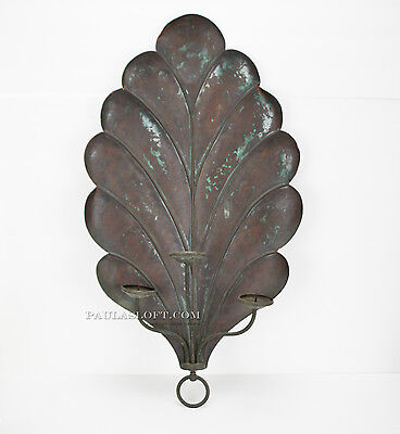 Vintage Candle Wall Sconce Shell Decor Copper Architectural Design Exterior