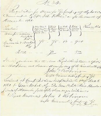 47th Indiana Vols.: 900 Pounds of Straw; Civil War Navy Supply Ledger Sheet