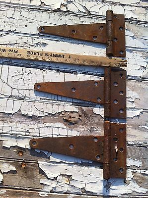 Vintage Set of 3  Metal 10.5in long Barn Strap hinge