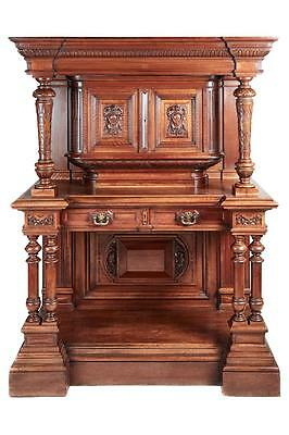 Stunning 19Th Century Carved Walnut Court Cupboard Cabinet