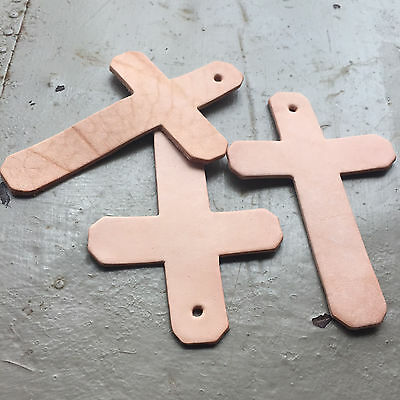 5 x Large Flat Natural Leather Cross Shapes, 11.5cm x 7.5cm