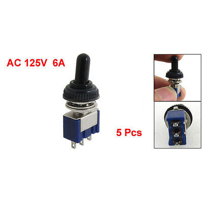 5x 125V 6A ON/OFF/ON 3 Position SPDT 3Pin Toggle Switch with Waterproof Boot AD