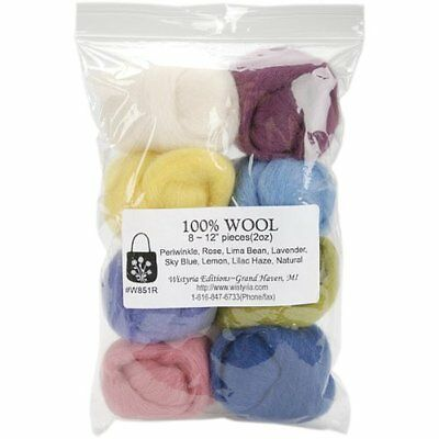 WISTYRIA EDITIONS 0.25-Ounce Wool Roving, 12-Inch, Muted, 8-Pack