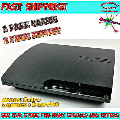 PS3 Slim Console | Inc 4 Free Games & 4 Free DVDS | 1 CONTROLLER | WARRANTY