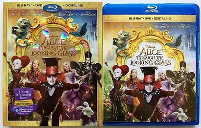 Disney Alice Through The Looking Glass Blu Ray Dvd 2 Disc Set + Slipcover Sleeve