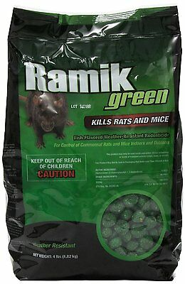 NEOGEN RODENTICIDE Ramik Mouse and Rat Nuggets Pouch, 4-Pound, Green [00615] NEW