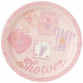 Baby Shower 'Pink Stitching' Large Paper Plates (8ct)