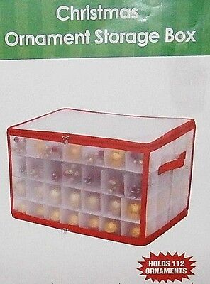"CHRISTMAS ORNAMENT STORAGE BOX  20.75""L x 12""W x 12""H Holds Up To 112 Ornaments"