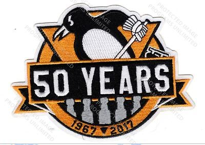 Pittsburgh Penguins Patch 50 Seasons Anniversary Years Puck Style 4X Stanley Cup