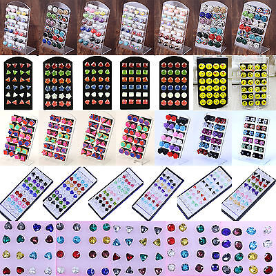 HIG Wholesale lots Bulk 6/18/20 Pairs Mix Styles Silver Plated Ear Studs Earring