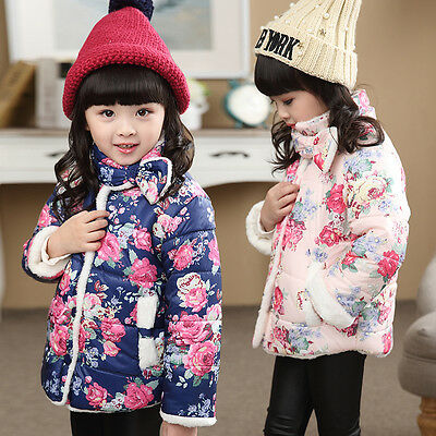 Toddler Baby Kids Girls Floral Puffer Jacket Winter Thick Warm Coat Outerwear