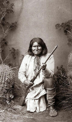 Native American Indian Portrait Geronimo With Rifle Photo Art Print Picture