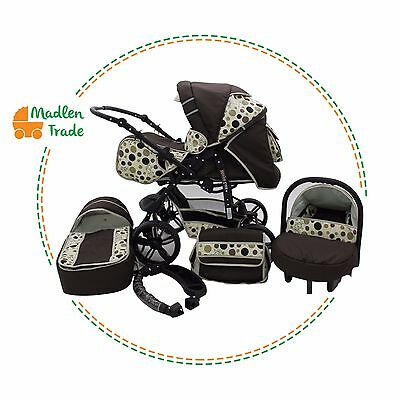 Pushchair + 3in1 + Car Seat + baby pram + stroller + Buggy Travel System 19cols