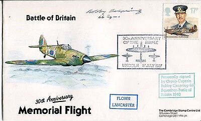 WW2 RAF Battle of Britain ace Bobby Oxspring DFC signed cover
