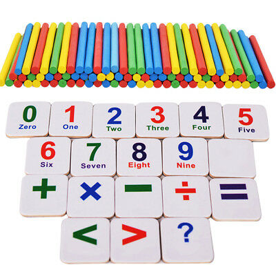 ZH2A Wooden Sticks Fridge Magnet Mathematics Counting Educational Kids Toy