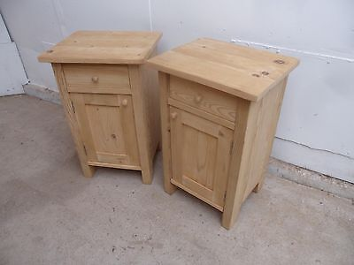 An Excellent Pair of Small Antique Pine Bedside Cabinets to Paint/Wax