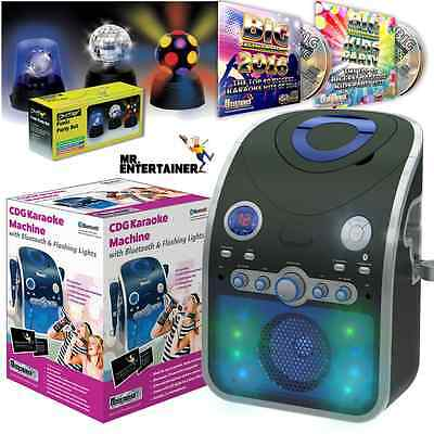 Bluetooth Home Karaoke Machine Package with Party Lights, CDG Songs and Mics Inc