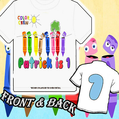 Crayons - Color Crew - Personalized Birthday Shirt- Front and Back