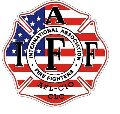 """4"""" IAFF Decal American Flag Pattern Exterior Mount READ AUCTION"""