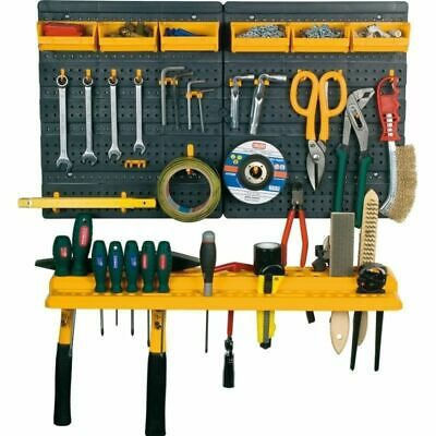 Garage Tool Rack Wall Kit Storage Tools Organiser 19 Peg Board Hooks & Open Bins