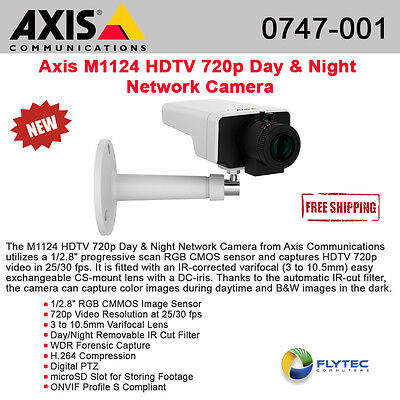 Axis - 0747-001 M1124  Surveillance/ Network Camera for Day/Night with HDTV 720p