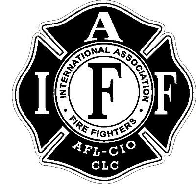 "4"" IAFF Decal Black and White Exterior Mount READ AUCTION"