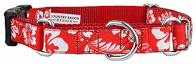 Country Brook Petz™ Red Hawaiian Ribbon Martingale With Deluxe Buckle Dog Collar