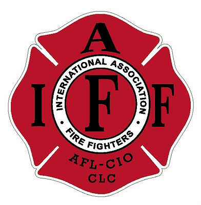 """4"""" IAFF Decal Red with Black Trim Exterior Mount PLEASE READ AUCTION"""