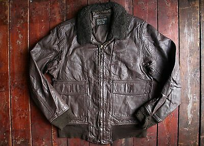 Vtg 1971 Us Navy Brill Bros Type G-1 Goatskin Leather Flight Jacket Pilot Usn 38