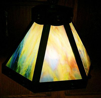 Truly Fabulous Heavy Arts & Crafts Era Lighting Light Fixture Stained Glass Slag