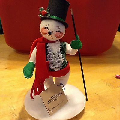 """Annalee 8"""" Snowman With Top Hat And Cane Original Tags"""