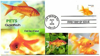 Pets,2016 Goldfish stamp,Goldfish Fish cachets by ROMP cachets