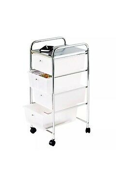 Salon Spa Trolley Hairdressers Barbers 4 Drawer White Portable Mobile Storage