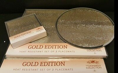 New gold glitter sparkle mirrored glass placemats and coaster set CONTEMPORARY