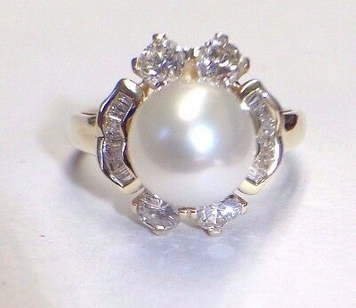 Regal Pearl and Diamond 14K Yellow Gold Ring Size 6.5