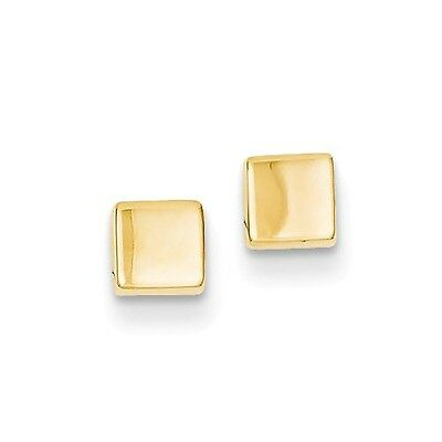 14k Yellow Gold & Polished Square Post Stud Earrings. (4MM)