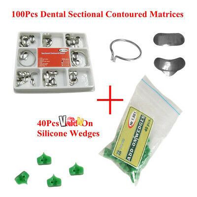 Dental 100Pcs Sectional Contoured Matrices Matrix Ring Delta + 40 Add-On Wedges