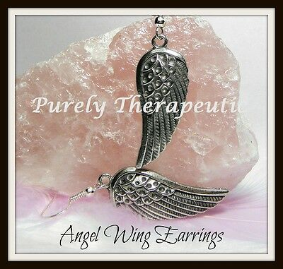 ANGEL WING EARRINGS~Silver~Pewter~Wicca Pagan Spiritual White Witch Spell Cherub