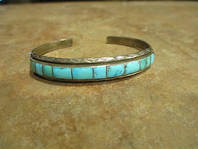 OLD Zuni Sterling Silver Inlay Turquoise Cuff Bracelet