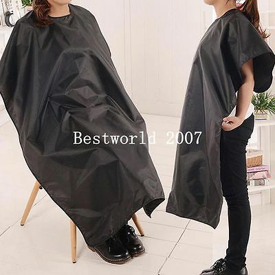 Black Pro Cutting Waterproof Cloth Salon Barber Gown Cape Cover Hairdresser New