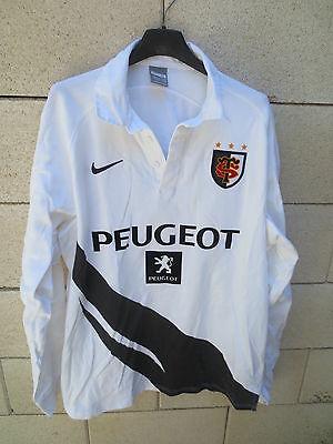 VINTAGE Maillot rugby STADE TOULOUSAIN 2009 Nike blanc coton shirt collection XL