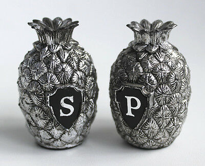 Vintage PINEAPPLE Salt and Pepper Shakers~Silver Metal~ Never Used