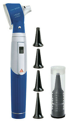 HEINE mini 3000 Otoscope with battery handle and reusable and disposable tips