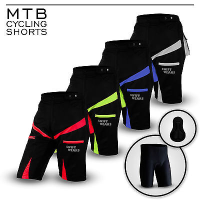 83148a255 MTB Cycling Shorts Off Road Cycle CoolMax Padded Liner Short NEW Size M L XL