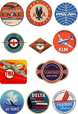 Vintage Style Airline Travel Suitcase Luggage Labels Set Of 11 vinyl stickers
